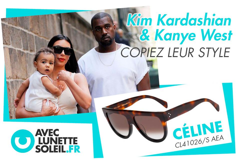 b1fc081fbb Sans doute le couple le plus médiatisé, Kim Kardashian tout comme son mari  le célèbre rappeur Kanye West, font de la lunettes de soleil, ...